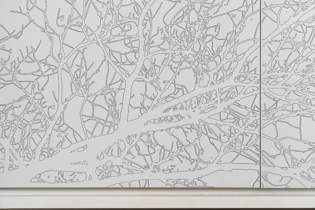 Tree Patterned Wallpaper Contemporary Bedroom