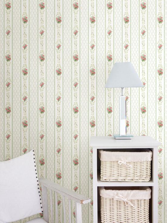 Trellis Stripe Wallpaper - An elegant stripe wallpaper and a homey living space.