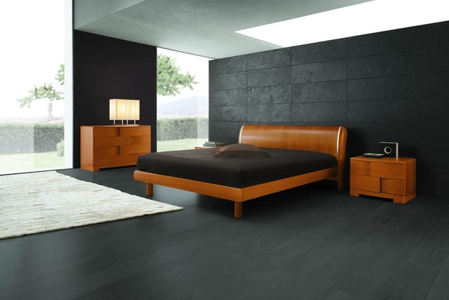 Trendy   Italian Cherry Wooden Bed Contemporary Bedroom
