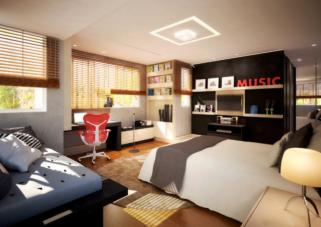 Trendy Young Guys Bedroom Modern Bedroom Other Metro