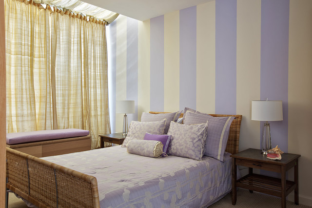 Inspiration For A Contemporary Bedroom Remodel In New York With Purple Walls