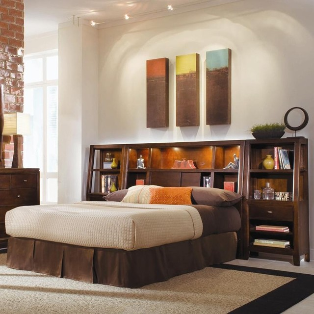 Tribecca Queen Bookcase Bed With Nightstands Contemporary