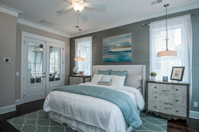 Teal Gray Bedroom Tributary contemporary-bedroom
