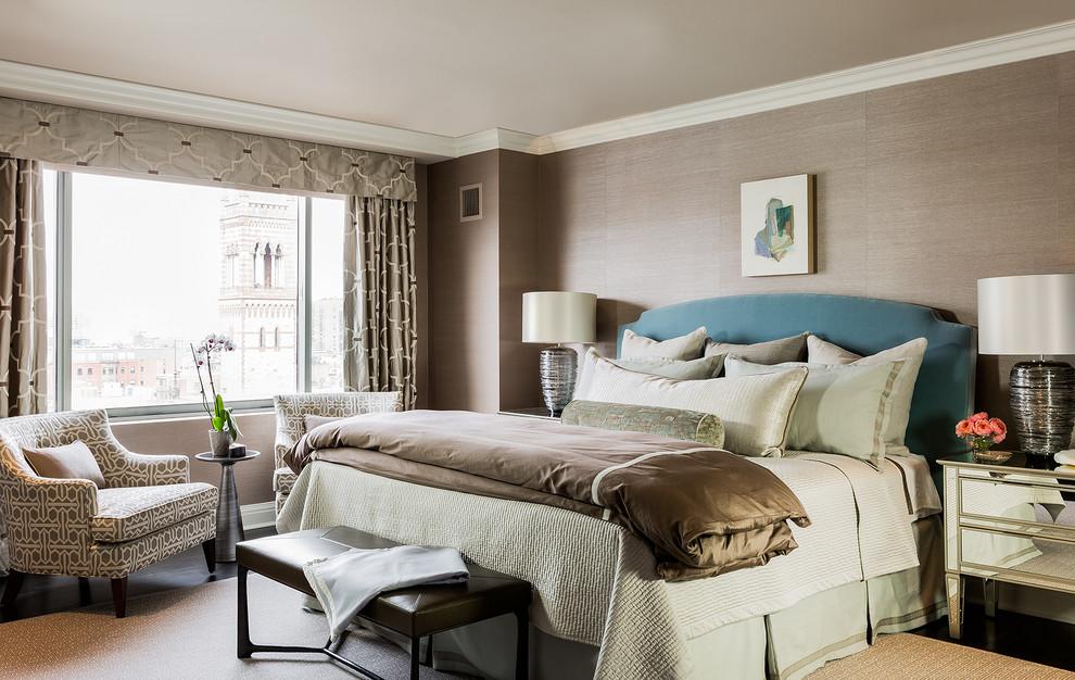Example of a transitional master dark wood floor bedroom design in Boston