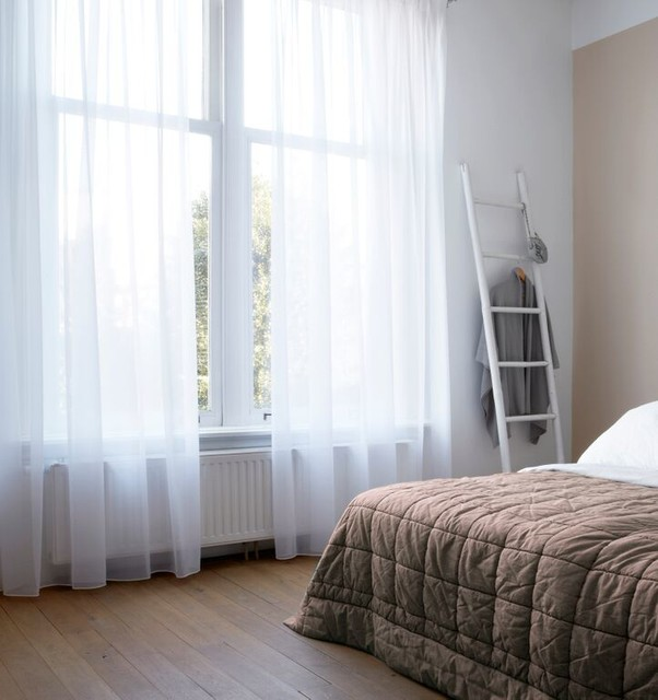 Triple Lined Sheer Curtains Scandinavian Bedroom
