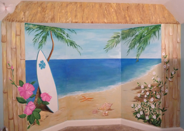 Tropical beach mural hibiscus name mural tropical for Beach mural painting