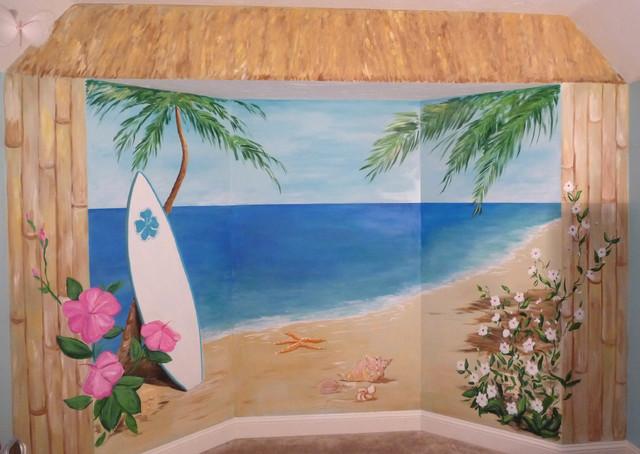 Tropical beach mural hibiscus name mural tropical for Exterior mural painting