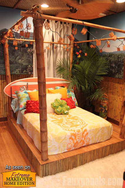 Tropical Bedroom With Faux Panels Beach Style Bedroom