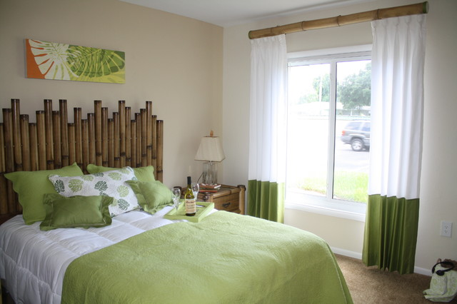 evoke laidback style with bamboo curtain rods, Bedroom decor