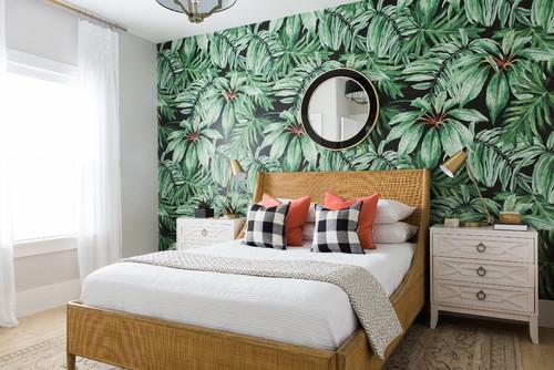 緑・グリーンベースの植物柄の壁紙