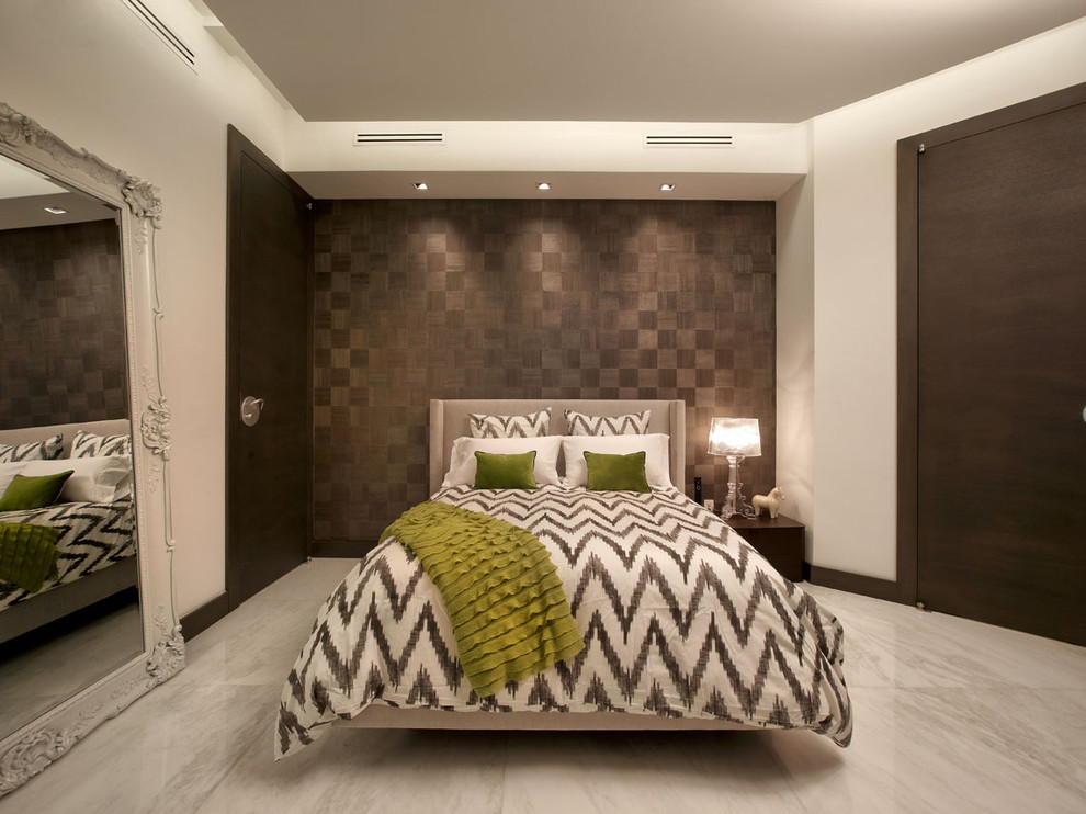 Example of a trendy bedroom design in Miami with brown walls