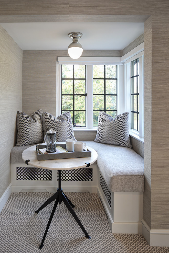 Inspiration for a transitional carpeted and gray floor bedroom remodel in Cleveland with gray walls