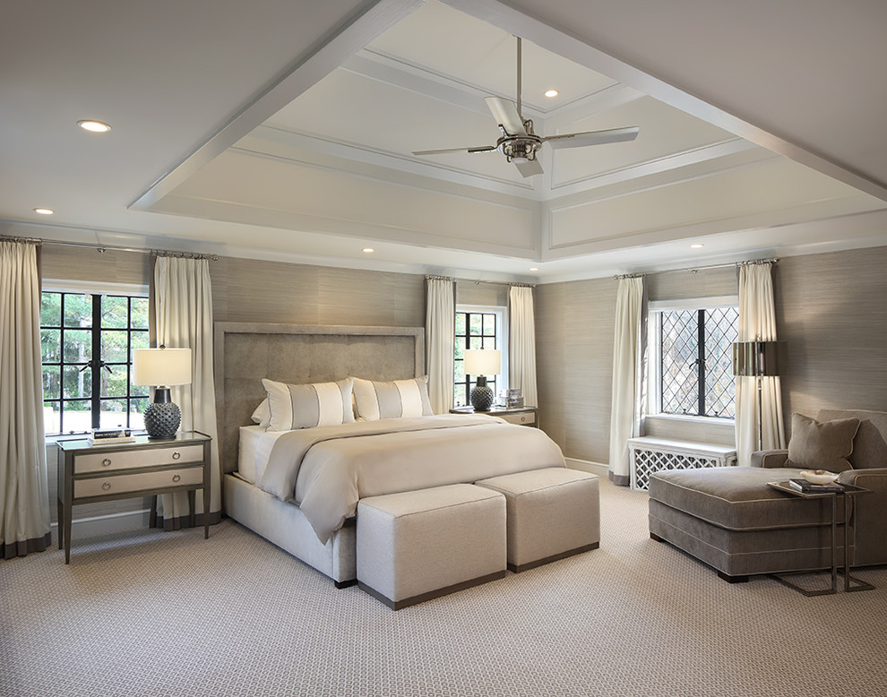 Example of a transitional master carpeted and gray floor bedroom design in Cleveland with gray walls and no fireplace