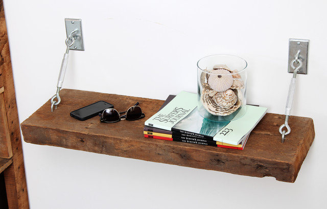Turnbuckle Shelves With Reclaimed Wood Contemporary