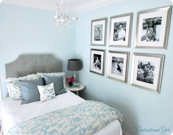 light blue bedroom. Elegant bedroom photo in Other Light Blue Bedrooms  Houzz