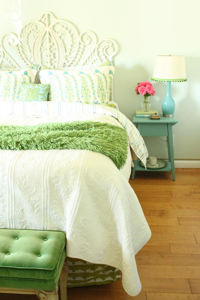 Bedroom - rustic medium tone wood floor bedroom idea in San Francisco with green walls