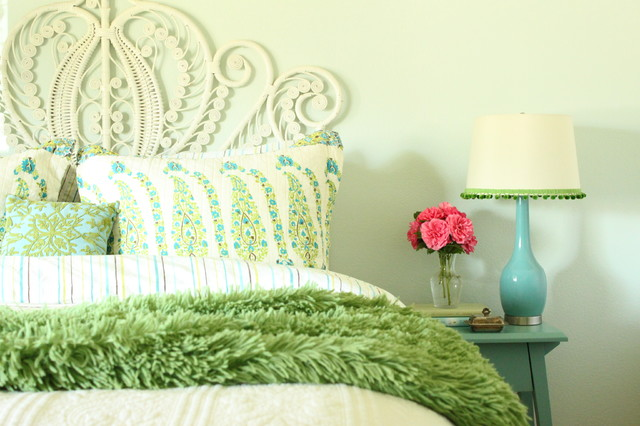 Turquoise and Green Bedroom eclectic-bedroom