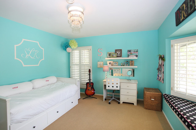 Turquoise bedroom eclectic bedroom los angeles by for Black white turquoise bedroom ideas