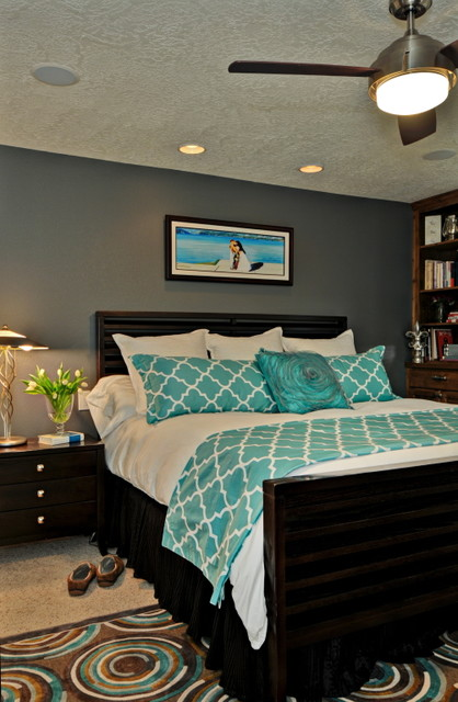 Turquoise master eclectic bedroom boise by judith for Black and white and turquoise bedroom ideas