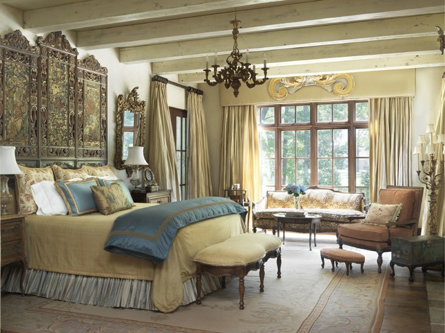 Tuscan villa mediterranean bedroom st louis by amy for Italian villa interior design ideas
