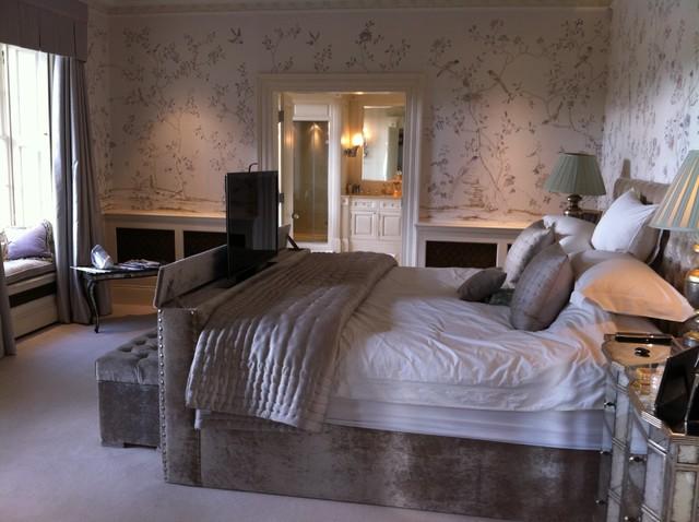 Tv lift bed finished with velvet for Velvet bedroom designs