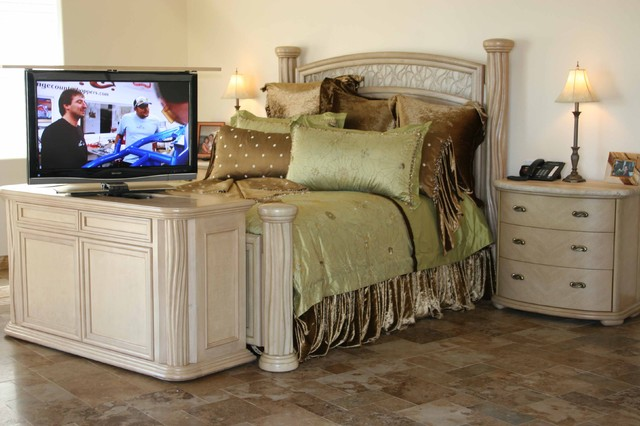 Tv lift cabinet by us made cabinet tronix traditional