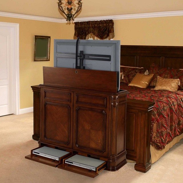 TV Lift Cabinets In Homes Traditional Bedroom Miami