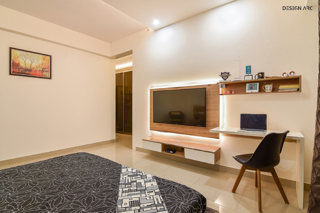 Tv Unit And Study Table Contemporary Bedroom Bengaluru By Design Arc Interiors Bangalore