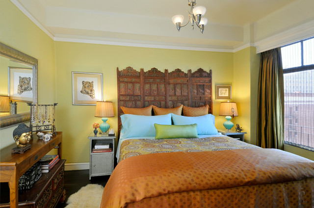 Inspiration For An Asian Dark Wood Floor Bedroom Remodel In San Francisco  With Yellow Walls