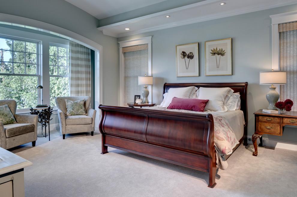 Elegant bedroom photo in Dallas with gray walls