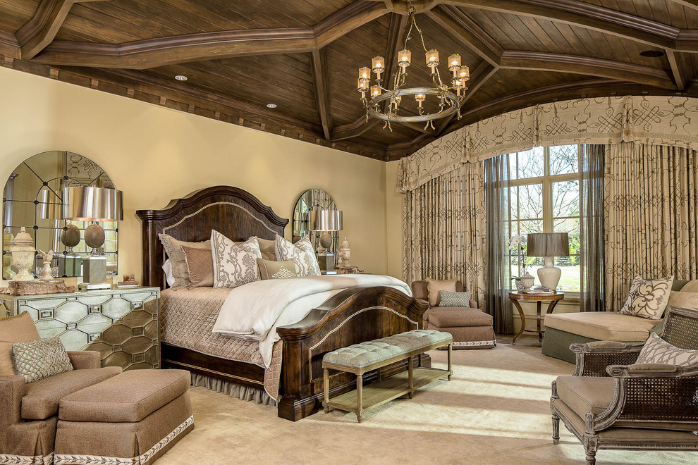 Inspiration for a timeless carpeted bedroom remodel in Dallas with beige walls and no fireplace