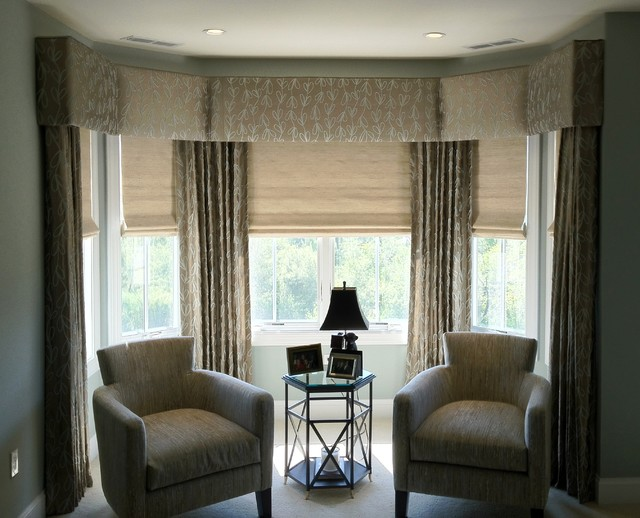 Upholstered cornices transitional bedroom new york for Bedroom cornice design