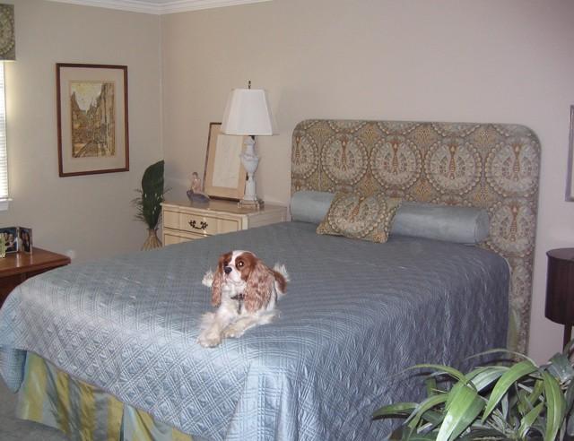 Upholstered Headboard and Custom Bedding eclectic-bedroom