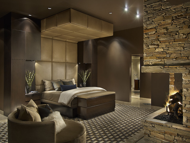 Upholstered headboard and soffit contemporary-bedroom