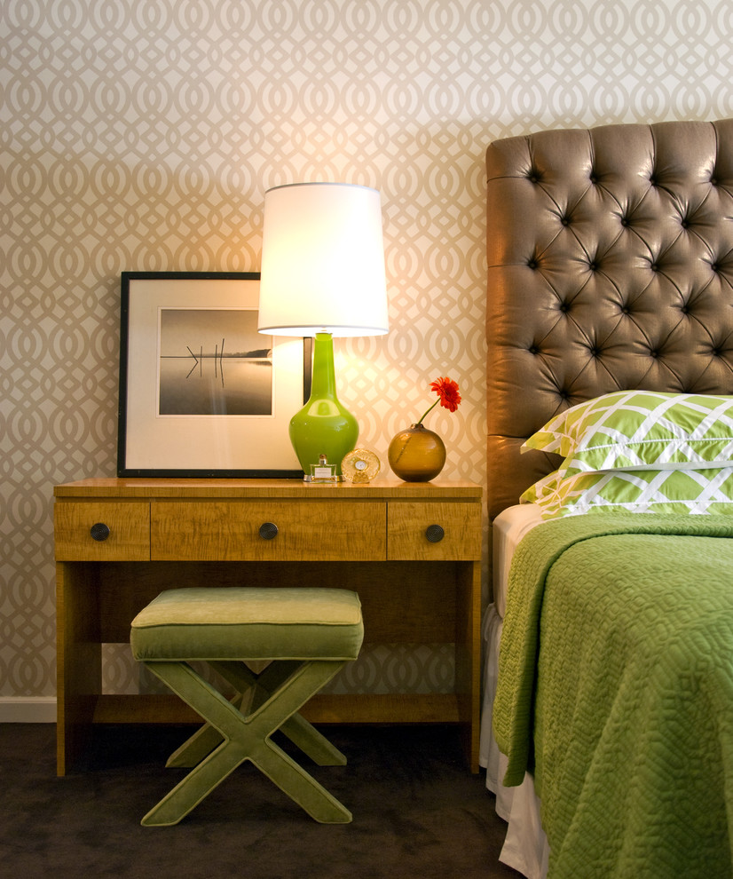 Trendy carpeted bedroom photo in New York with beige walls