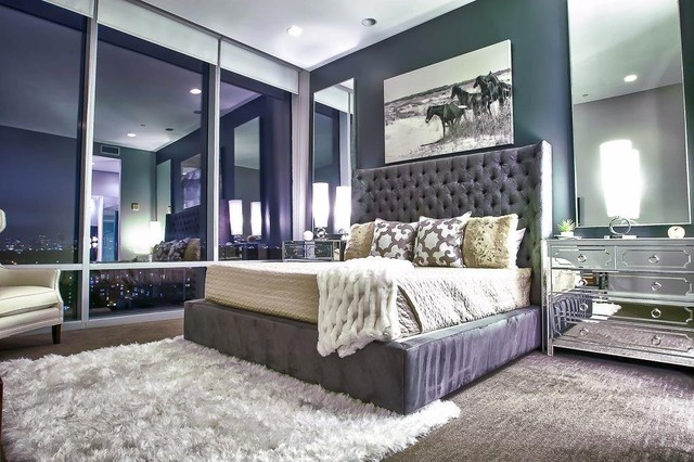 Upper Kirby Highrise Condo Contemporary Bedroom