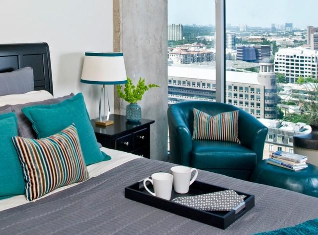 Inspiration for a contemporary bedroom remodel in Dallas