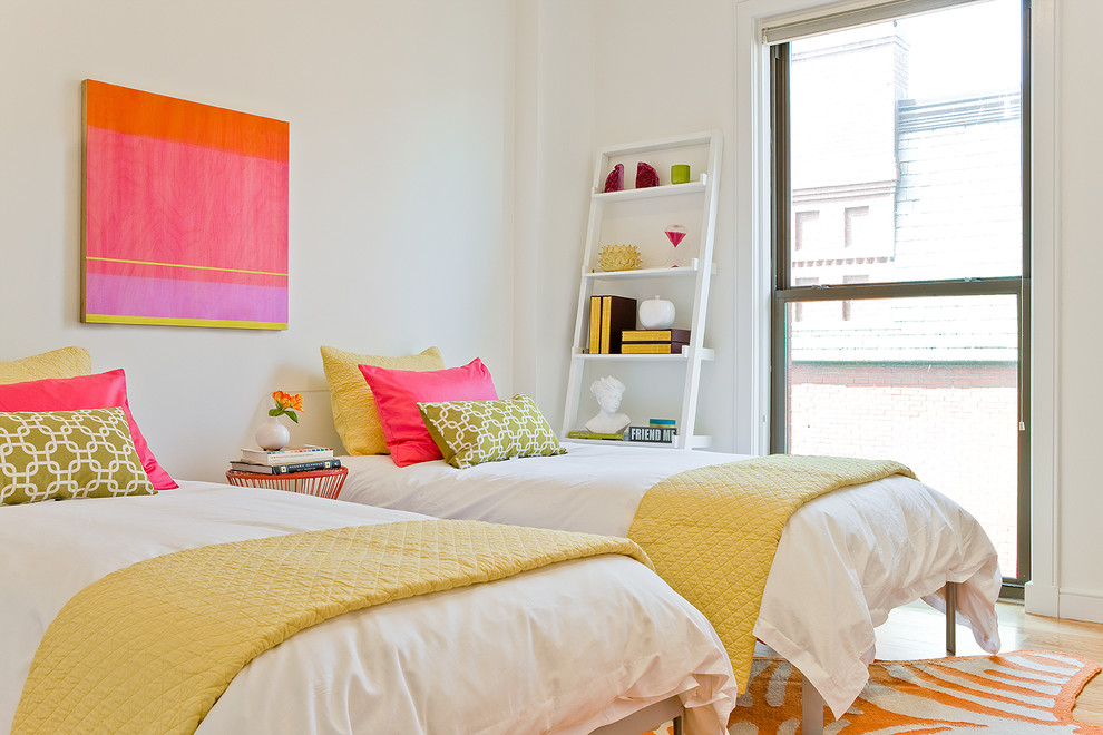 Example of a trendy bedroom design in Boston with white walls