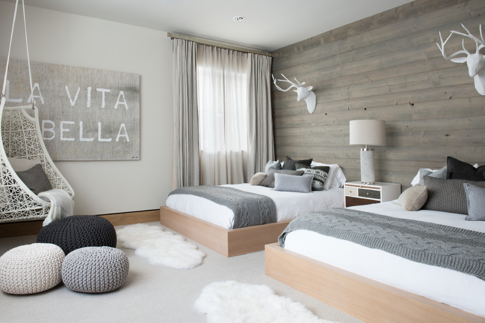 Large danish guest carpeted and gray floor bedroom photo in Denver with white walls and no fireplace
