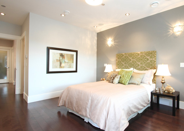 Inspiration for a contemporary dark wood floor bedroom remodel in Vancouver  with gray walls