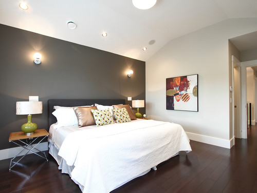 What is the dark grey feature wall colour for Grey feature wallpaper bedroom
