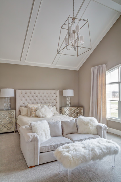 Vaulted ceiling master bedroom transitional bedroom cleveland by laura of pembroke Master bedroom lighting ideas vaulted ceiling