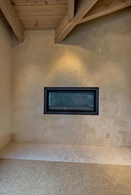Venetian Plaster Fireplace in Master Bedroom Eclectic