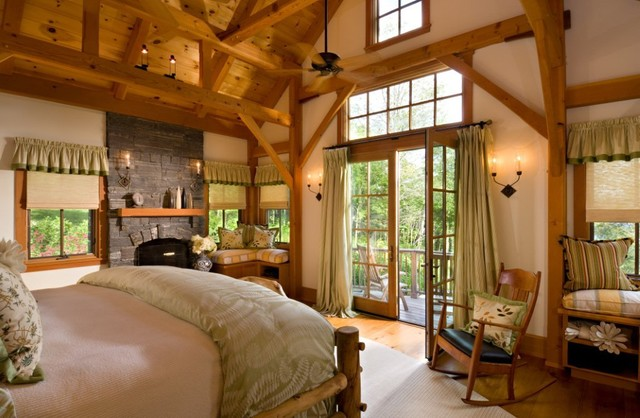 Vermont Timber Frame Residence Traditional Bedroom