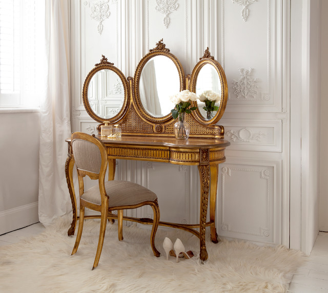 Versailles Gold French Dressing Table Traditional Bedroom
