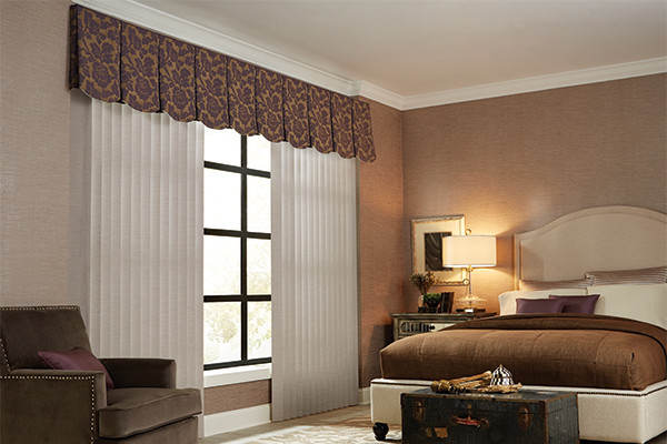 vertical blinds cloth fabric valance graber bedroom