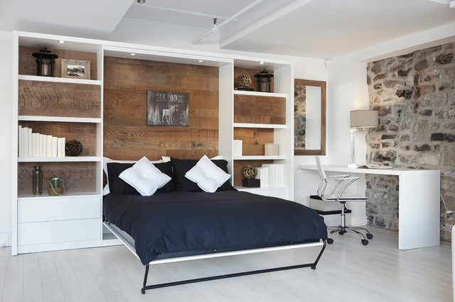 vertical wall bed lits escamotables verticaux industrial bedroom montreal by limuro. Black Bedroom Furniture Sets. Home Design Ideas