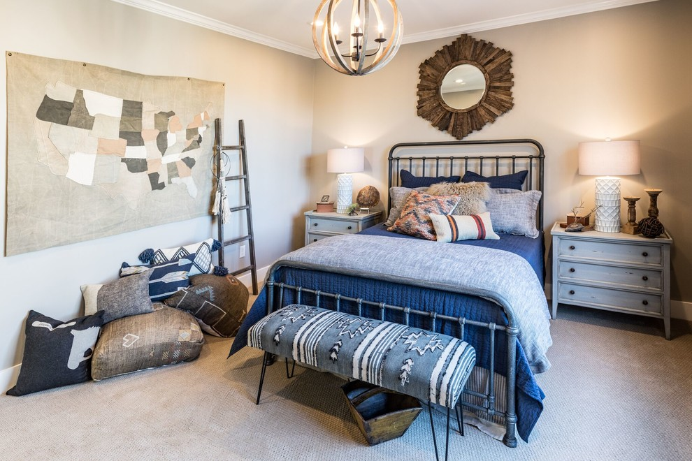 Bedroom - transitional carpeted and beige floor bedroom idea in Other with brown walls