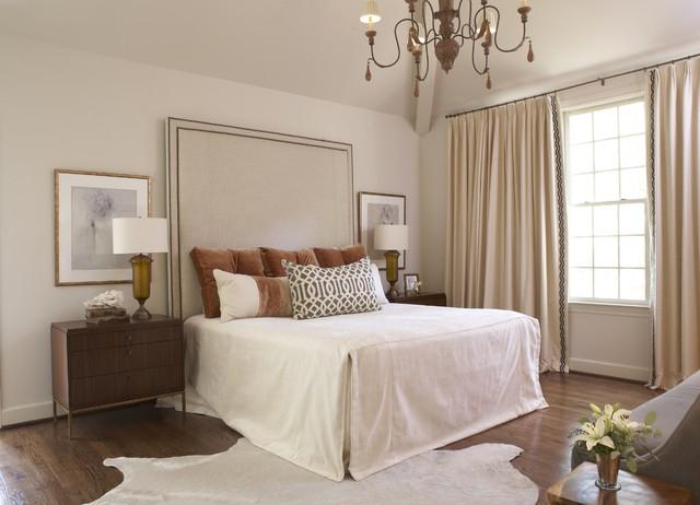 Trendy Dark Wood Floor Bedroom Photo In Birmingham With White Walls