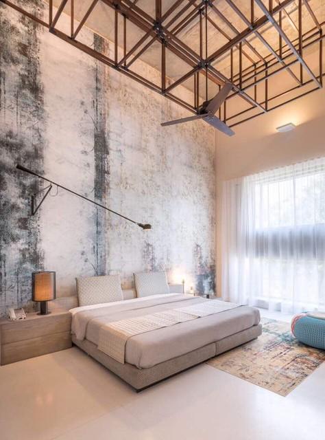 Diseño de dormitorio minimalista, de tamaño medio, con suelo beige